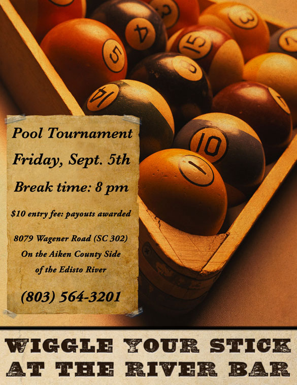Flyer: River Bar Pool Tournament